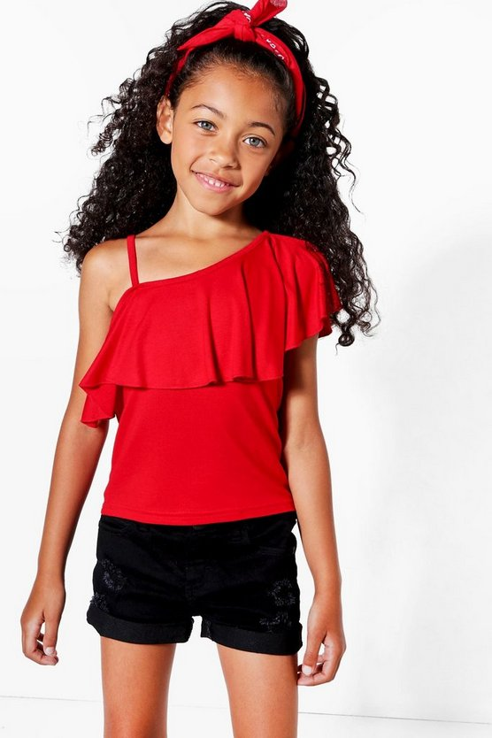 Girls One Shoulder Frill Top
