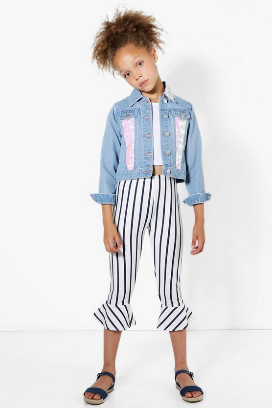 Girls Stripe Frill Hem Trouser