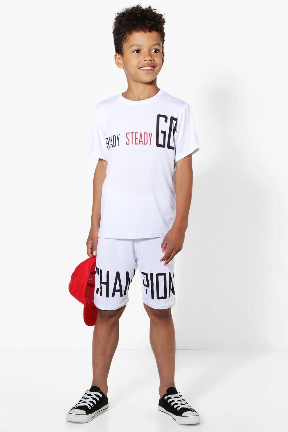 0e91c6c09b61 Mens White Boys Champion T-Shirt and Shorts Set. Hover to zoom