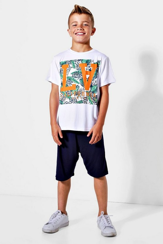 Boys LA Palm T-Shirt & Shorts Set
