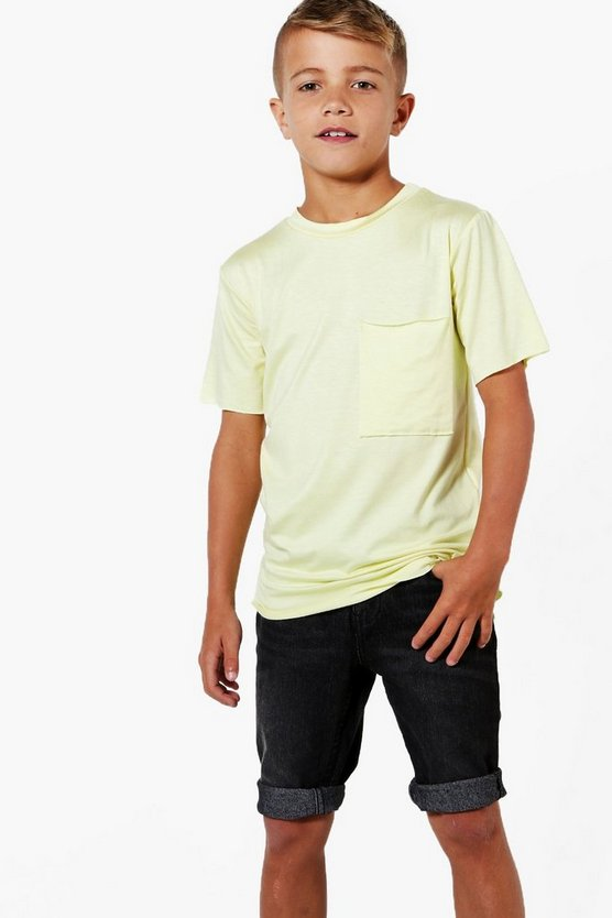 Boys Dip Back Hem with Pocket Long Line Tee