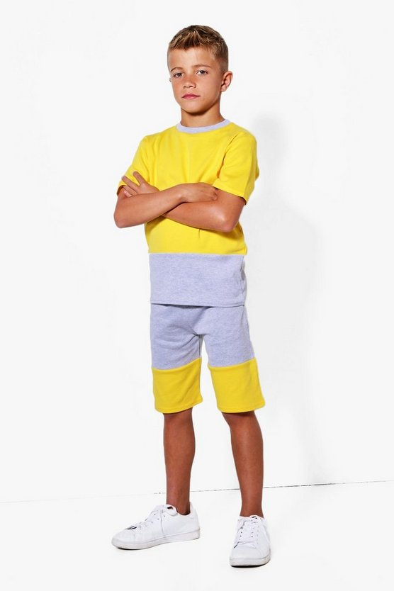 Boys Contrast Panel Sweat Shorts