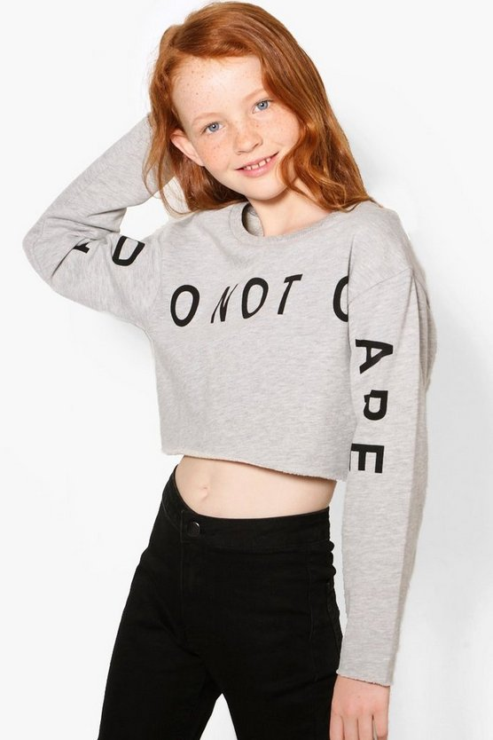 Girls Slogan Front Sweat Cropped Top