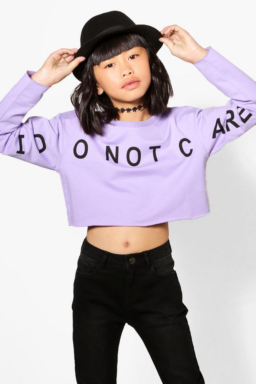 Top corto estilo suéter con eslogan por delante para niña | Boohoo