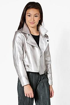 Girls Faux Leather Metallic Silver Biker Jacket
