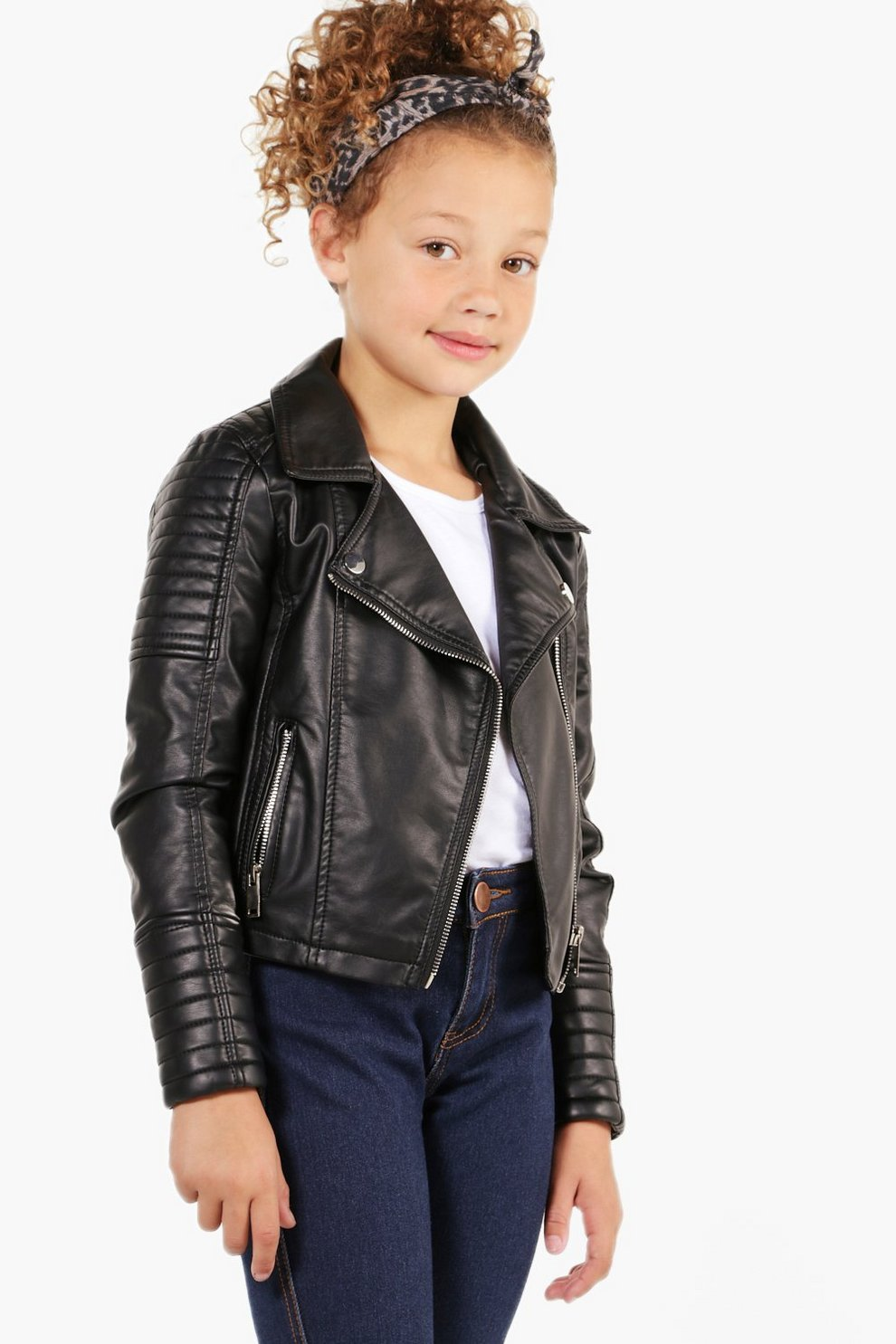 9e66db09 Womens Black Girls Biker Style Faux Leather Jacket