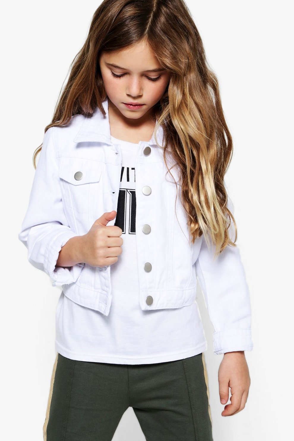 fdd3de8994f6 Girls White Denim Jacket