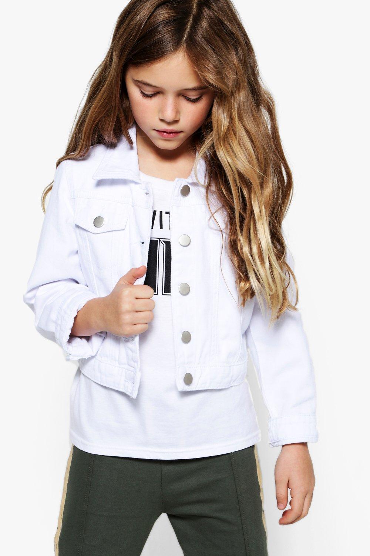 74cf97a6b Girls White Denim Jacket | Boohoo