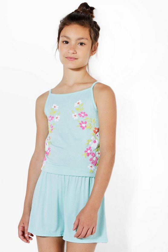 Girls Embroidered Floral Playsuit