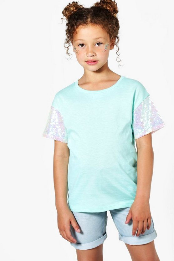 Girls Mint Sequin Sleeve Tee