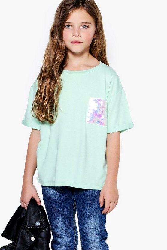 Girls Sequin Pocket Tee