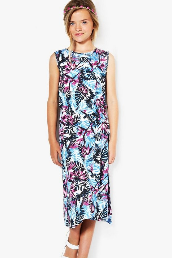 Girls Tropical Print Maxi Dress