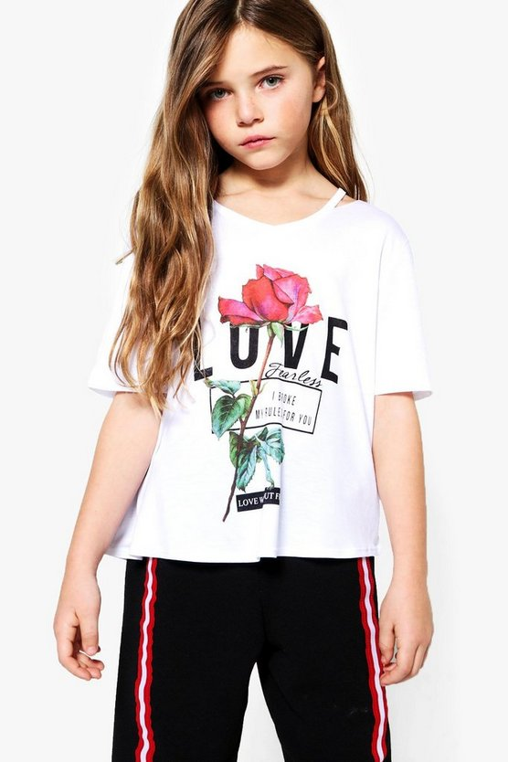 Girls Love Rose Split Shoulder Tee