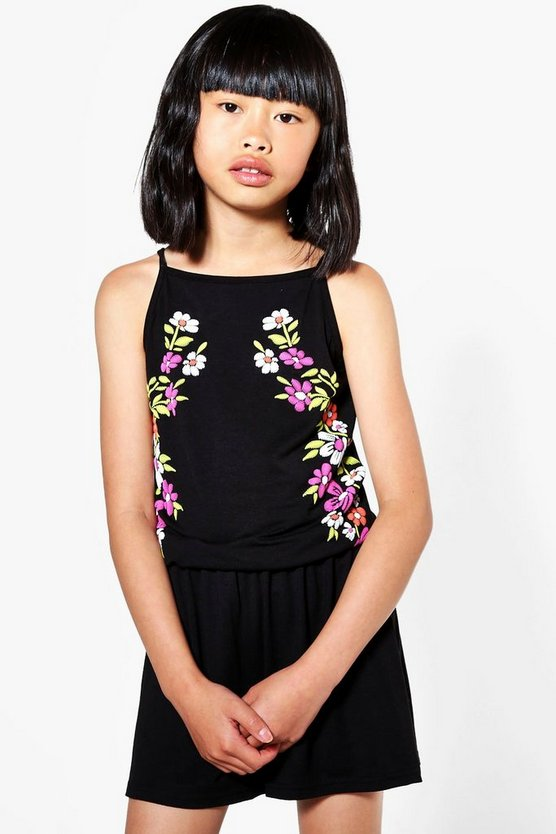 Girls Embroidered Side Print Playsuit