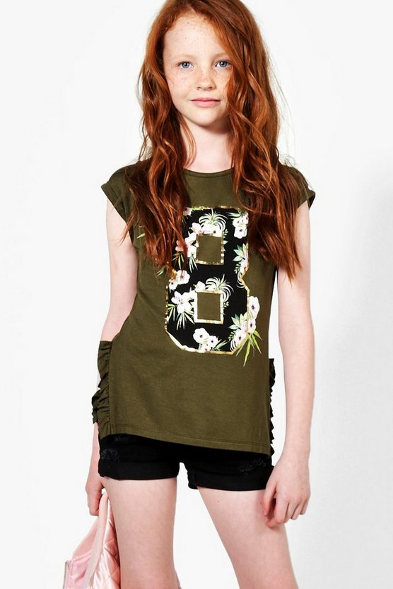 Girls Number 8 Side Frill Tee