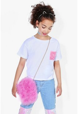 Womens White Girls Sequin Pocket Tee