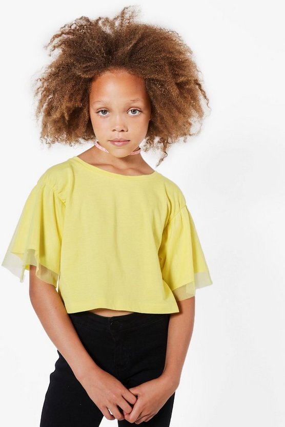 Girls Fluted Mesh Double Layer Tee