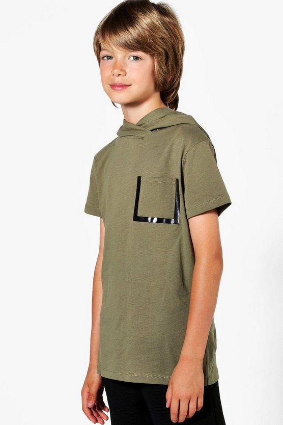Boys Hooded Longline Pocket Tee