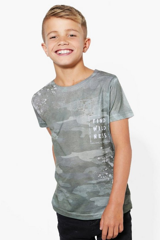 Boys Camo Paint Splat Tee