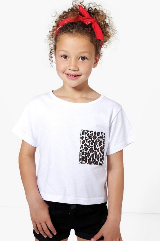 Girls Leopard Pocket Tee