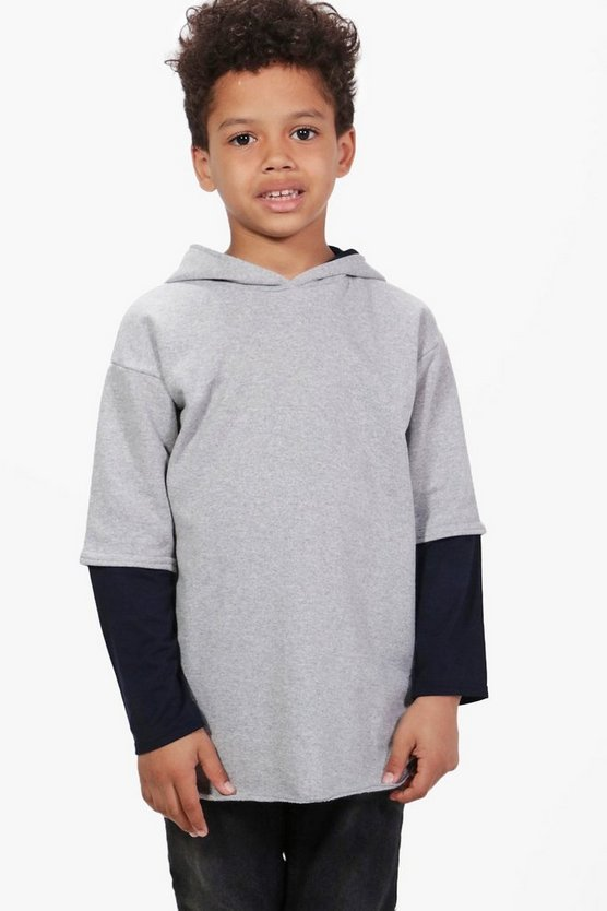 Boys Double Layer Hooded Sweat Top