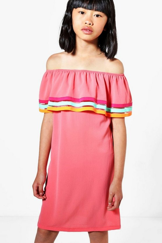 Womens Coral Girls Off The Shoulder Beach Dress