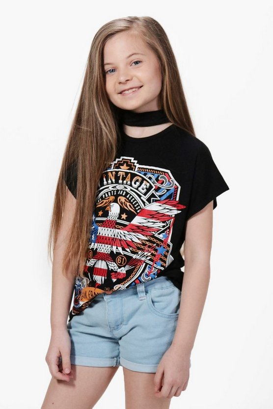 Girls Eagle Heart Choker Top