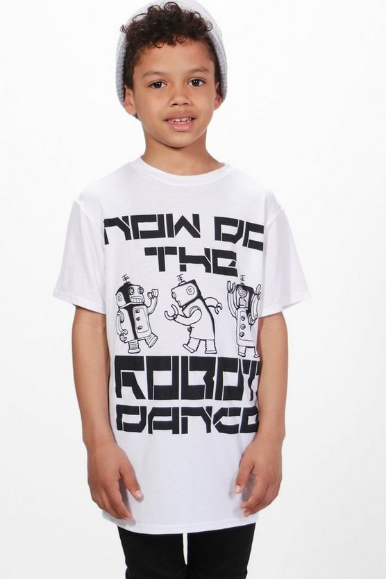 Boys Long Line Robot Tee