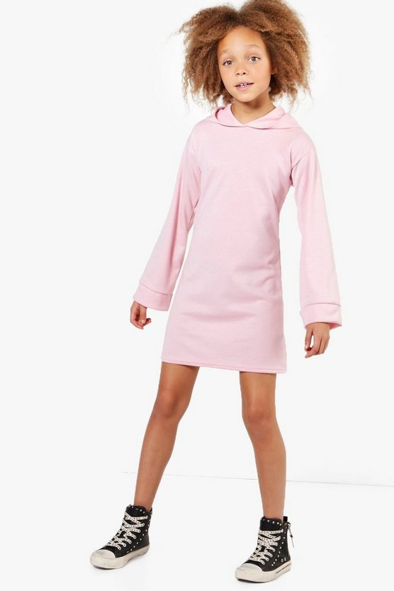 Girls Wide Sleeve Hooded Sweat Dress