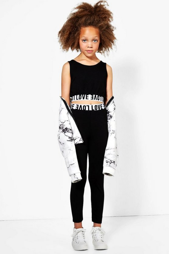 Girls Love Crop Top & Legging Set