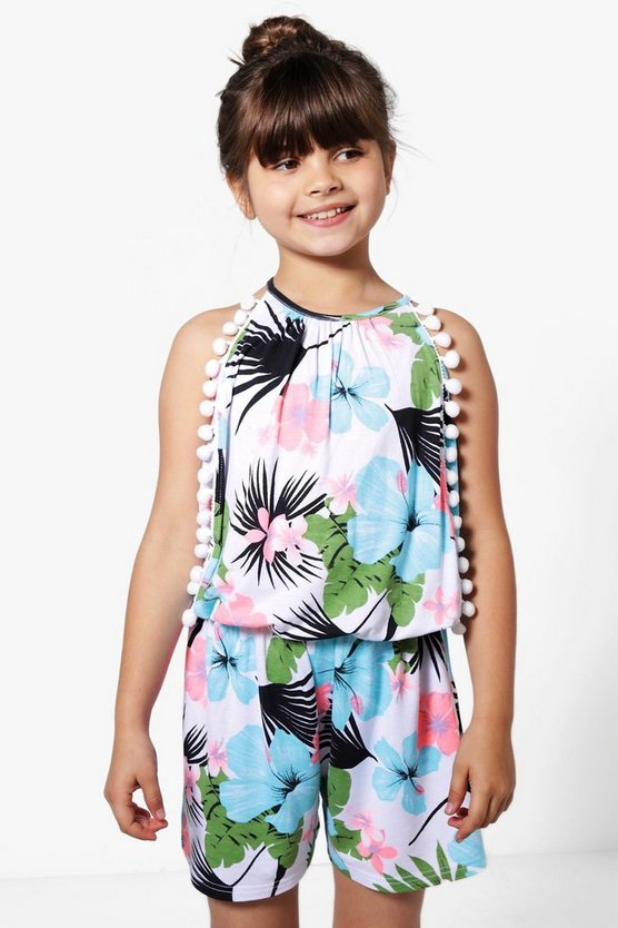 Girls Pom Front Playsuit