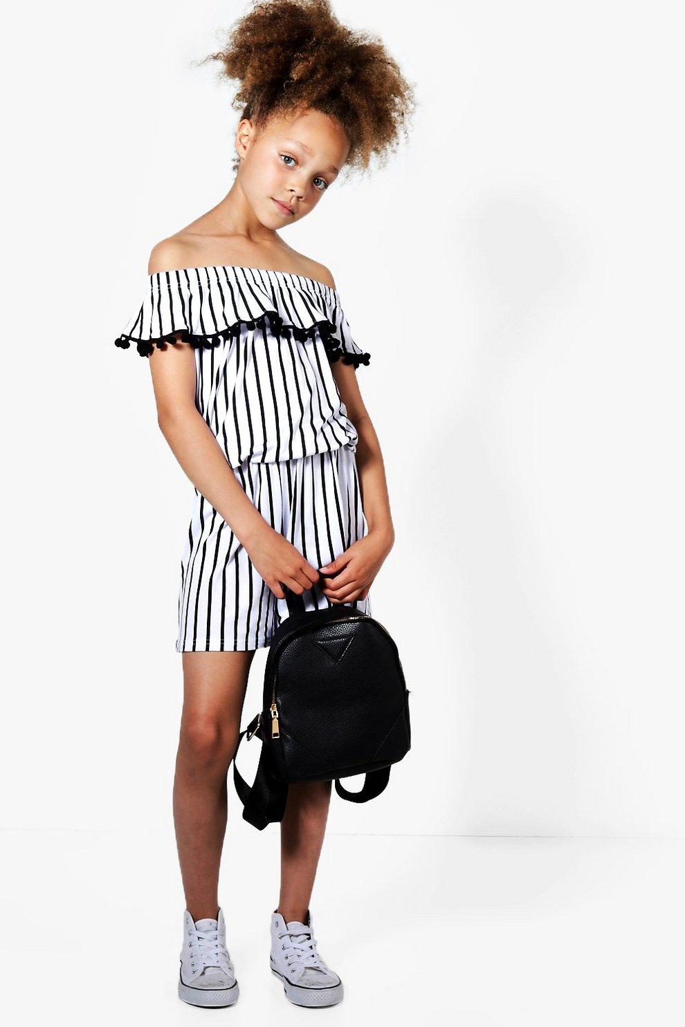 f6d52dc3aad4 Girls Stripe Bardot Playsuit