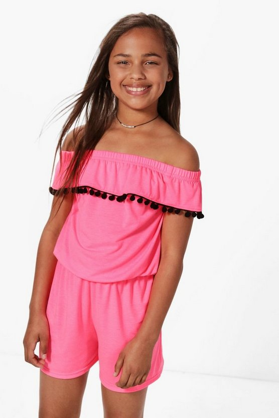 Girls Bardot Pom Trim Playsuit