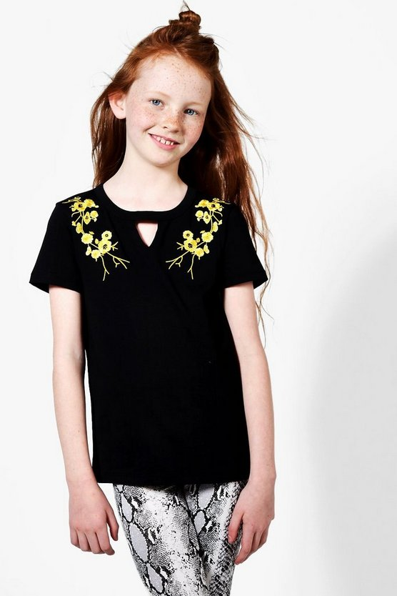 Girls Embroidered Choker Detail Tee
