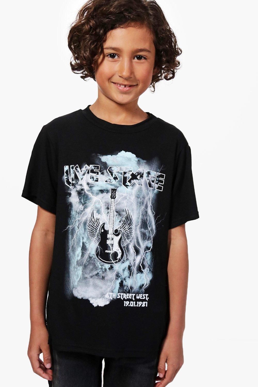 auténtico auténtico rico y magnífico amplia selección de colores y diseños camiseta rockera con estampado de guitarra para niño | Boohoo