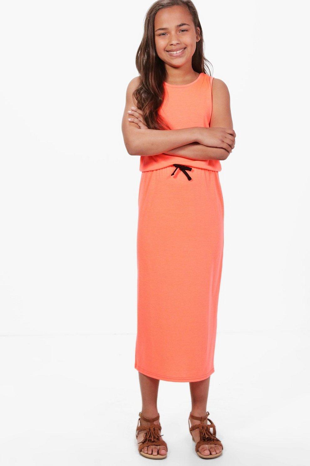 231e088db19 Girls Midi Plain Summer Dress