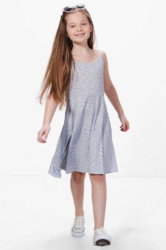 Girls Flower Print Strappy Swing Dress
