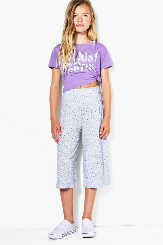 Girls Palm Print Jersey Culotte