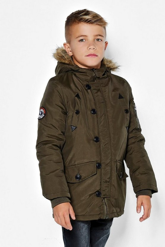 Boys Fully Padded Faux Fur Hooded Jacket
