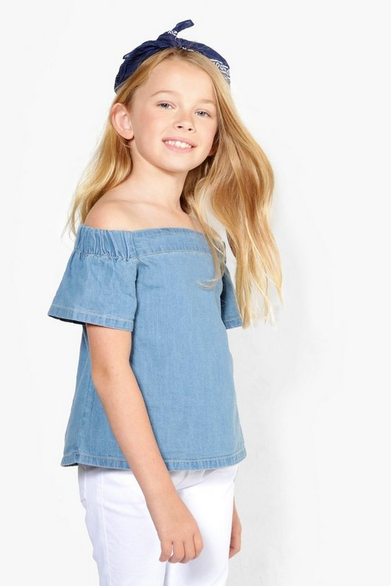 Girls Denim Off Shoulder Top
