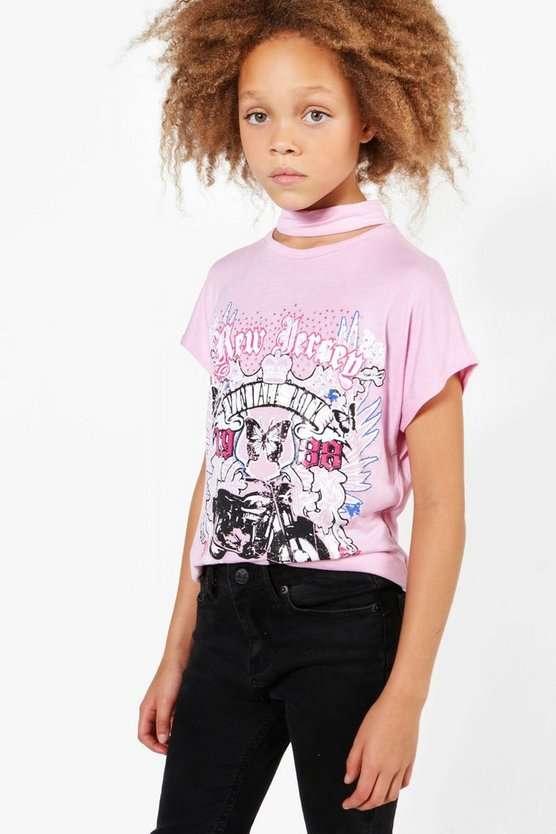 Girls Choker Neck Biker Tee