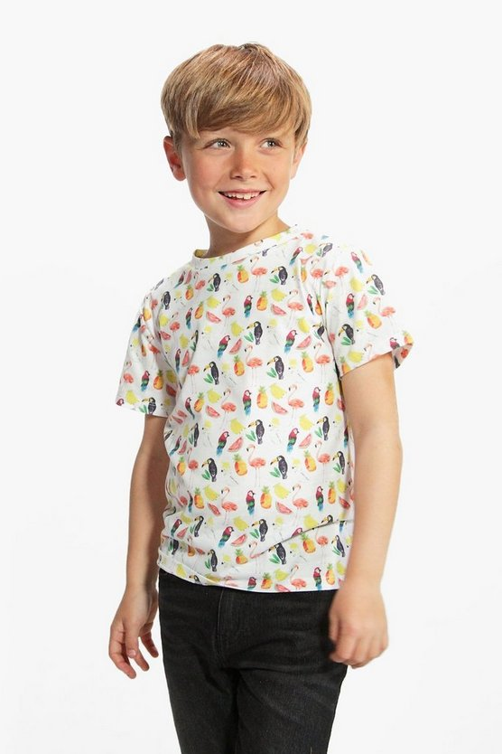 Boys All Over Print Parrot Tee
