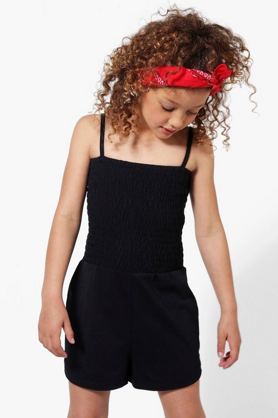 Womens Black Girls Shirred Strappy Playsuit