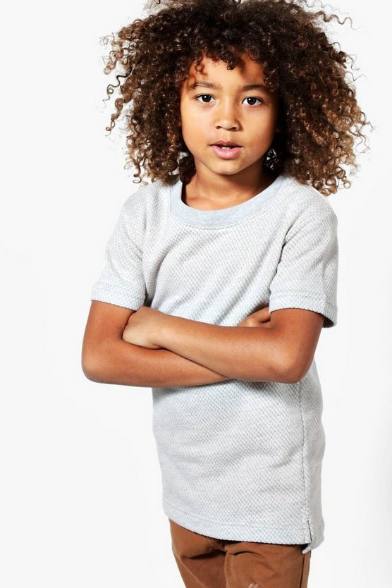 Boys Short Sleeve Textured Sweat Top