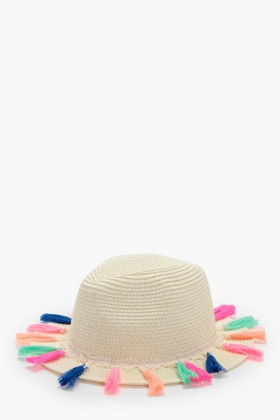 Girls Tassle Trim Panama Hat