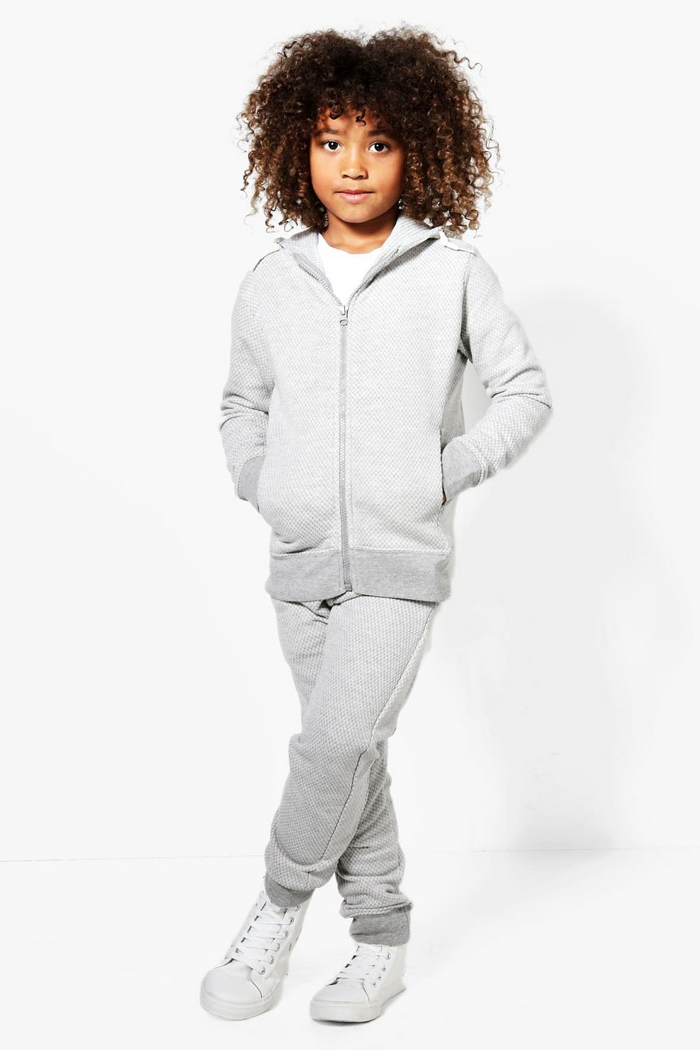 641a27d877f5 Boys Skinny Fit Textured Tracksuit | Boohoo