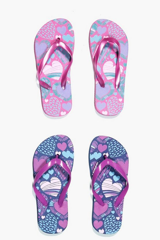 Girls Heart Print Two Pack Flip Flop