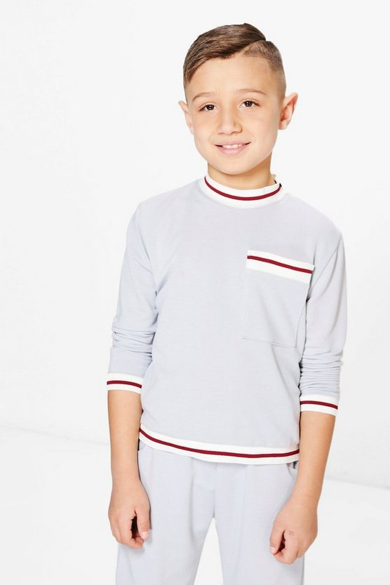Boys Contrast Rib Sweat Top