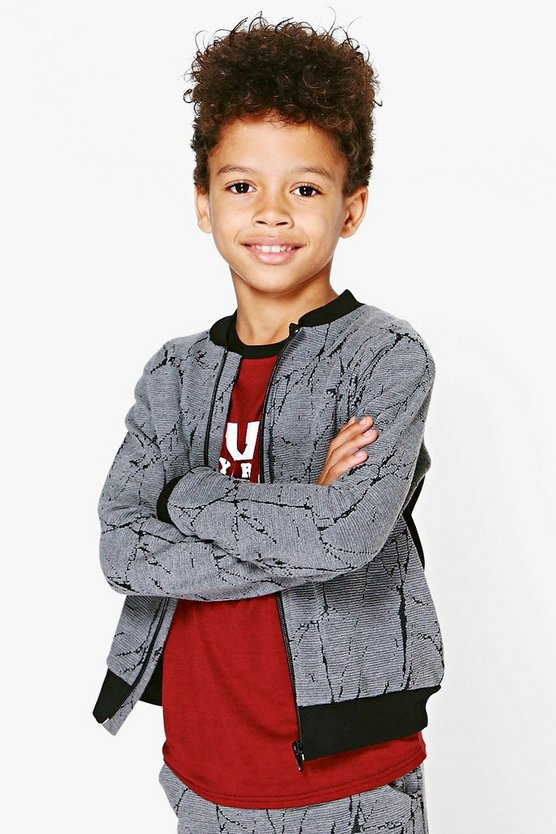 Boys Textured Bomber Jacket