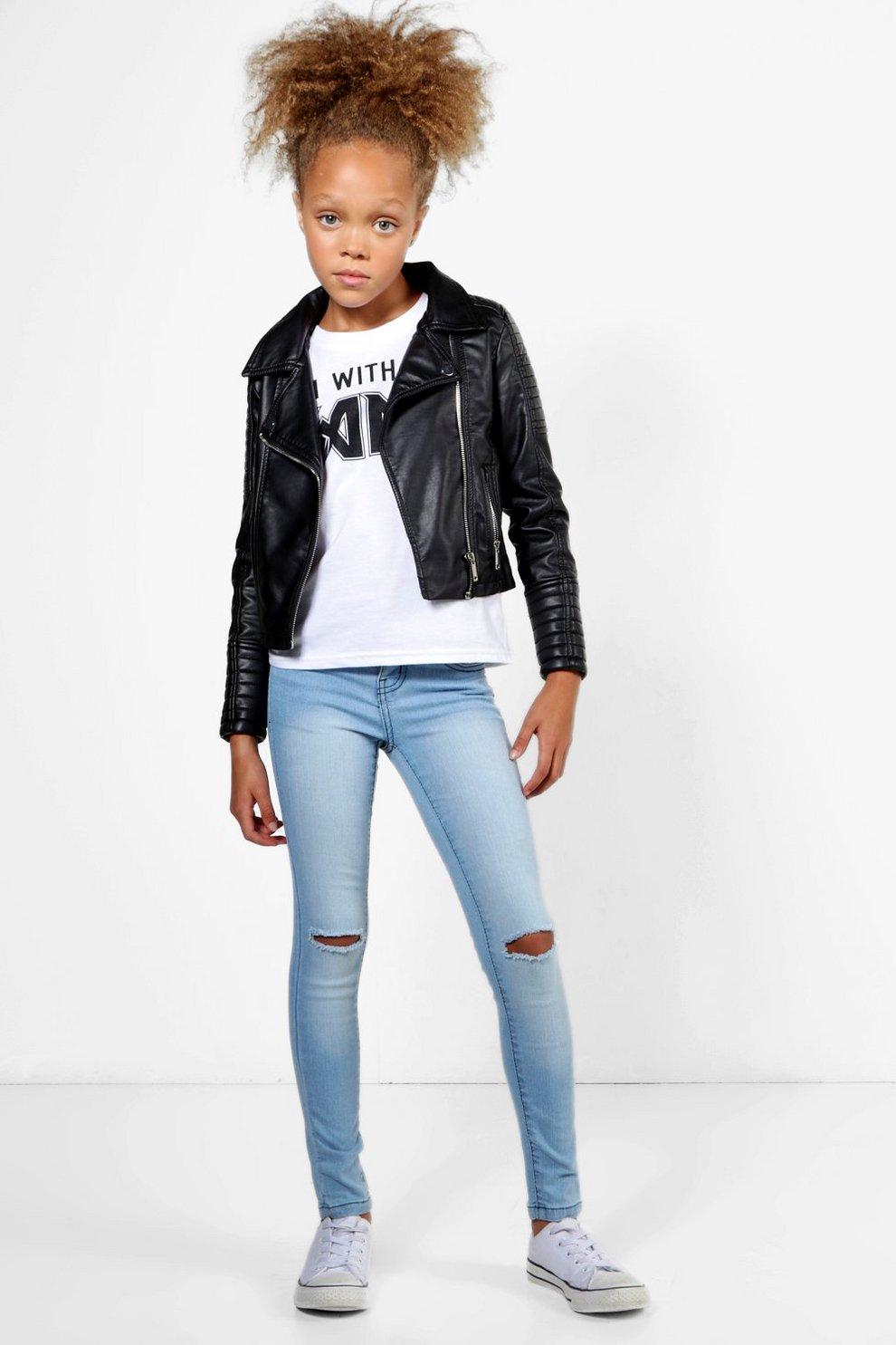 9aa2c4fd81b6 Girls Skinny Ripped Knee Jeans | Boohoo